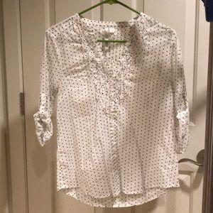 Lauren Conrad 3/4 sleeve white polka dot blouse